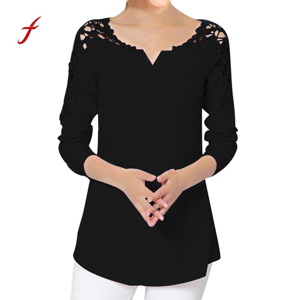 Feitong Plus Size Sexy Women Blouse 2018 Autumn Solid Lace Blouse Ladies Fashion Casual Shirt For Women Camisa Feminina /PY Блузка