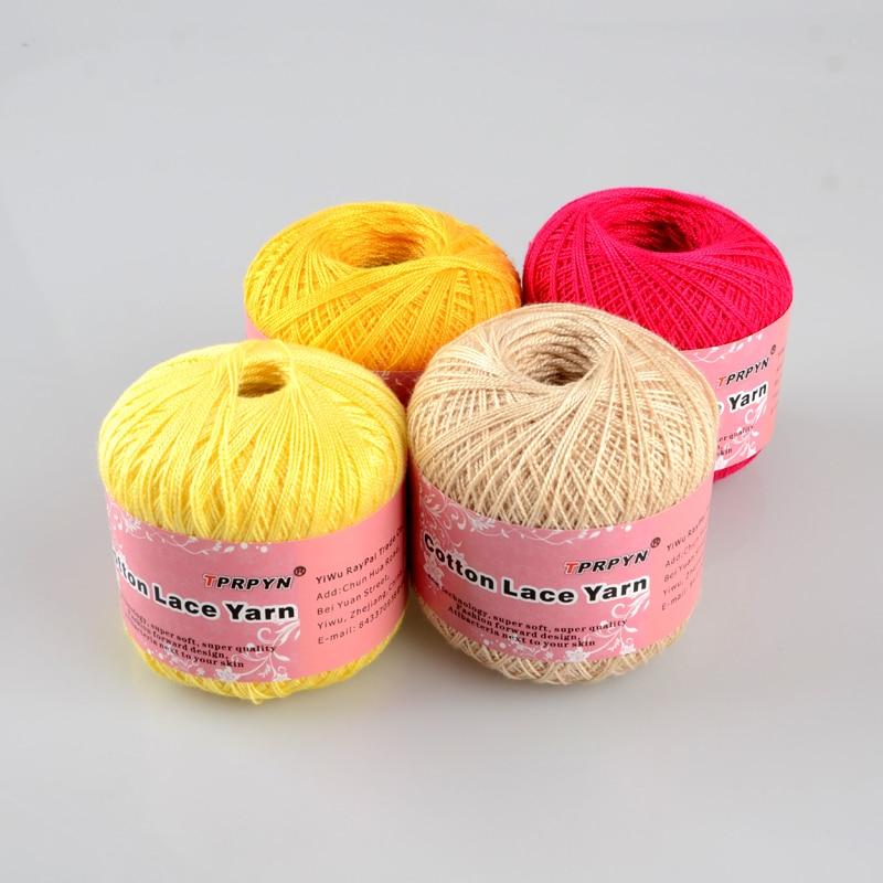 Tprpyn 1pc=50g Crochet Cotton Yarn 2 Ply Middle Thin 0.8mm Lace Cotton Yarn Hand-knitting Yarn Machine Knitting Crochet Threads