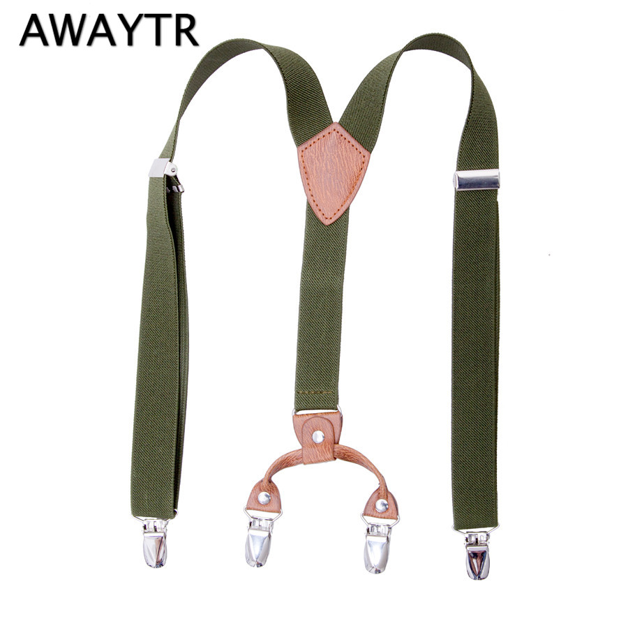Elastic Suspensorio AWAYTR Kids Suspenders 70cm Army Green Braces for Children Trousers Fashion Accessories 2-12 Years Old