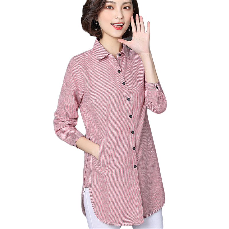 VogorSean 2018 Spring Autumn Fashion Women Striped   Blouse     Shirts   Lady For Work Long Sleeve Tops Female Clothing Blusa Plus Size