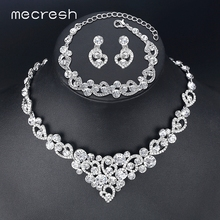 Mecresh Romantic Heart Crystal Wedding Jewelry Sets Silver Color Bridal Necklace Earrings Bracelets Sets For Women TL310+MSL285 mecresh simulated pearl bridal jewelry sets silver color rhinestone party wedding necklace earrings sets christmas gift mtl469