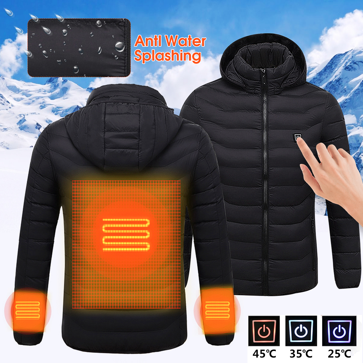 Mens Winter Heated USB Hooded Work Jacket Coats Adjustable Temperature Control Safety Clothing mens winter heated usb charge hooded work jacket coats vest adjustable temperature control safety clothing