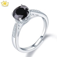Hutang 8mm Black Spinel Rings 925 Sterling Silver Natural Gemstone Adjustable Ring Fine Classic Zirconia Jewelry for Women New