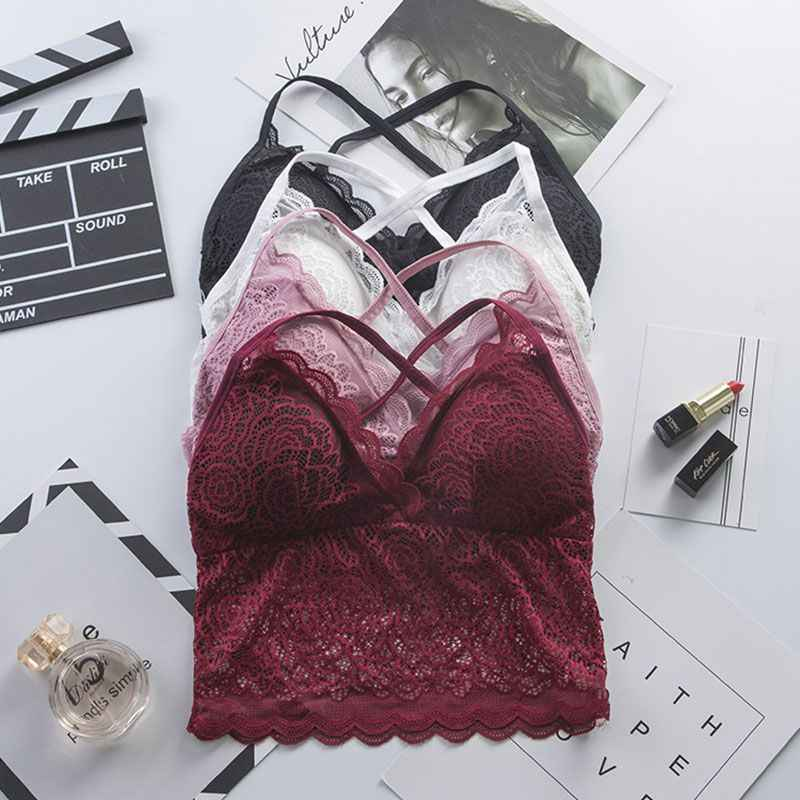 5079789e56 Female Lace Tube Top Underwear Padded Removable Sexy Lace Bottoming  Camisole Beauty Back Bra