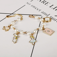Alice in Wonderland Charm Bracelets&Bangles Fairy Tale Story Rabbit Hat Key Clock Bracelet Fashion Jewelry Girls Children Gift
