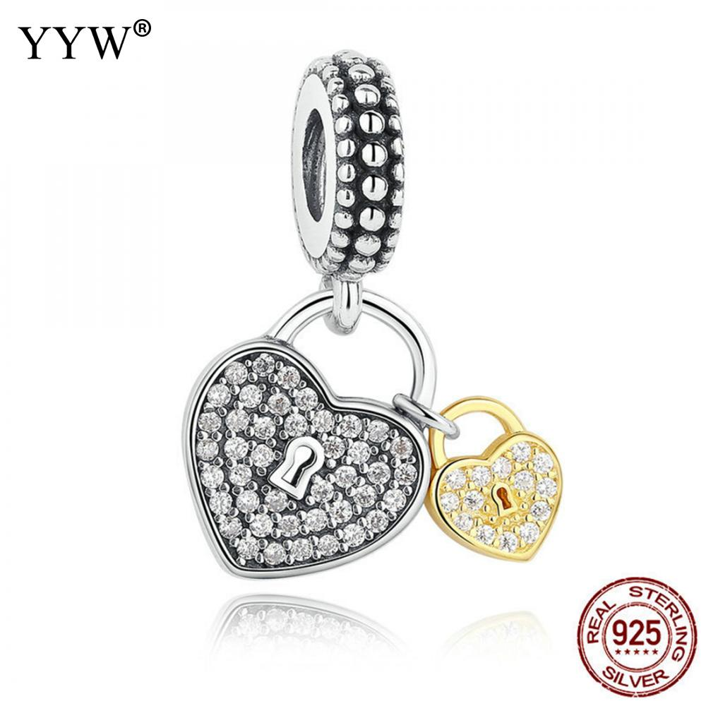 Fashion 925 Silver European Pendant Heart locket CZ Crystal Charm Women Necklace 2017 Precious Girls Gift