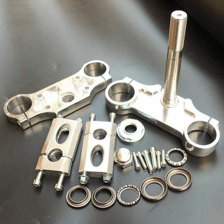 Universal Aluminum Handlebar Triple Clamp Bar Riser 201mm/210mm/230mm/240mm/255mm For Front Fork 22mm Handlebar Dirt Pit Bike