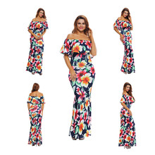 Tropical Print Dress off shoulder Women Long Party Dresses 2017 Elegant Bohemia Dress Maxi Mermaid Gown Vestido de festa LC61189
