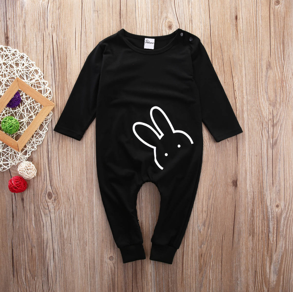 Cute Toddler Kids Baby Boy Cotton Clothes Long Sleeve Rabbit Black Romper Outfits