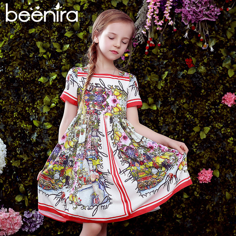 Beenira Girls Summer Dresses 2018 New European And American Style Kids Short-Sleeve Flower Pattern Party Dress Children Dress