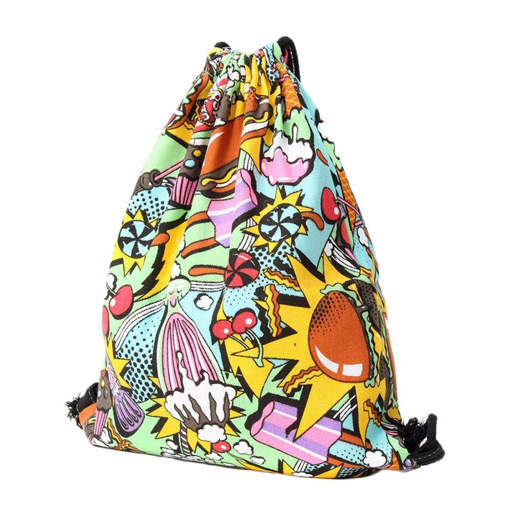 ISHOWTIENDA Drawstring Bag Men Drawstring Bag Jewelry Unisex 3D Printing Color Bags Drawstring Backpack Sac A Dos Ficelle