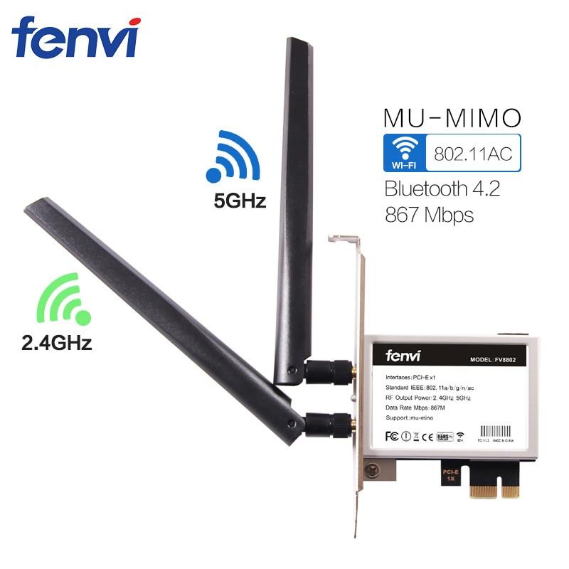 Fenvi Wireless-AC 8265 867Mbps 802.11 AC Dual Band Desktop PCI-E WiFi Adapter PCI Express Card For Intel 8265AC + Bluetooth 4.2