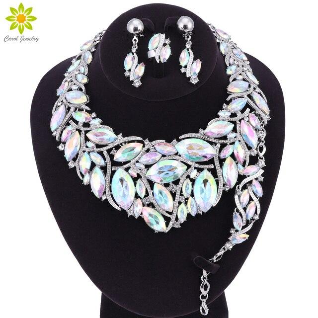 טבעת צמיד עגילי שרשרת גביש הודי אופנה תכשיטים עבור כלות כלה אביזרי חתונה מסיבה קישוט