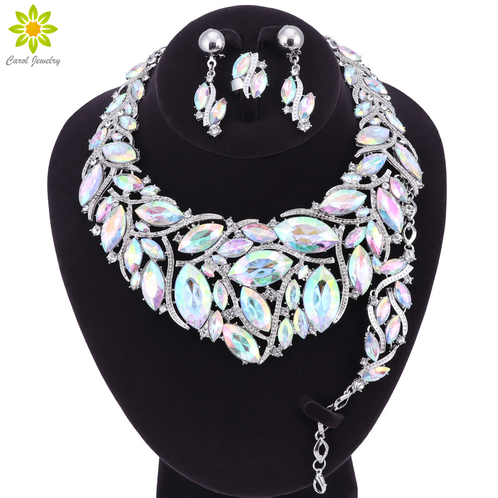 Fashion Indian Crystal Necklace Earrings Bracelet Ring Bridal Jewelry Sets For Brides Party Wedding Accessories DecorationFashion Indian Crystal Necklace Earrings Bracelet Ring Bridal Jewelry Sets For Brides Party Wedding Accessories Decoration