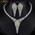 Top Quality Pear Cubic Zircon Criado Diamante Luxo Mulheres Do Casamento da Noite Do Partido Do Traje Jóias Conjunto Com Topázio Amarelo T243