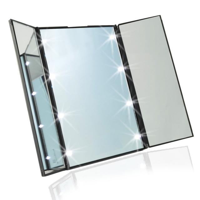 Tri-Dobrar Espelho de Maquiagem com Luz LED Portátil do Curso Compacto de Bolso Espelho de Maquiagem LEVOU Espelho de Viagem Dobrar Espelho de Maquilhagem