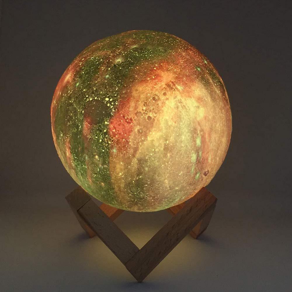 Maan Lamp Persoonlijkheid 3D Afdrukken Creatieve Lunar USB Opladen Licht Nachtlampje LED Afstandsbediening Helderheid - 3