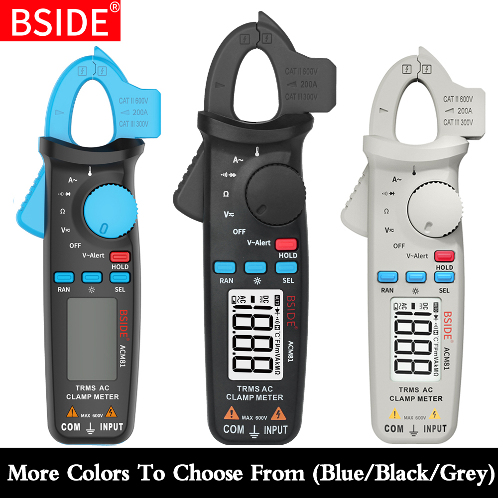 BSIDE ACM81 Trms 1mA Precisão Auto-Rang Atual Multímetro Digital DC AC NCV Tensão Ohm Diode Temperatura tester