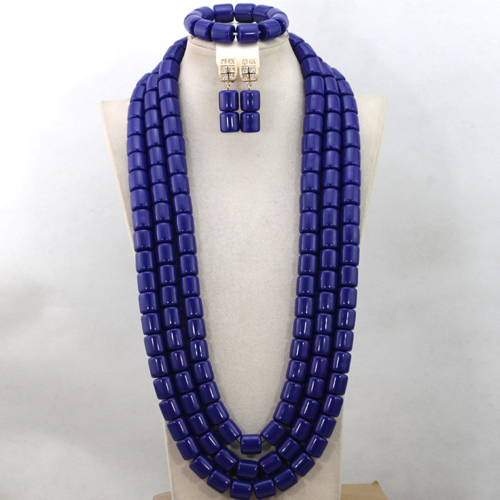 Wonderful 3 Layers African Wedding Beads Necklace Set Blue Nigerian Coral Women Engagement Party Jewelry Set Free Shipping QW711