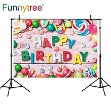 Funnytree backdrop para estúdio fotográfico feliz aniversário barra de chocolate doce colorido de madeira para crianças fundo photobooth