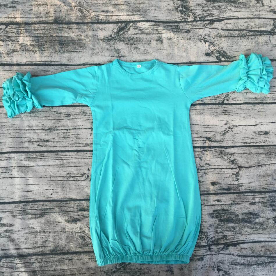 Wholesale 3m 3y Baby gowns sleeping wear organic cotton ruffle ...
