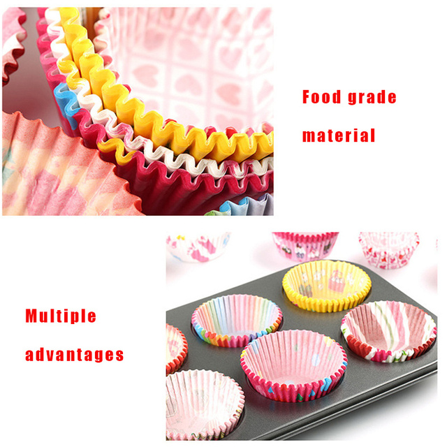 100pcs/set Colorful Paper Cake Cup Paper Cupcake Liner Baking Muffin Box Cup Case Party Tray Cake Mold Pastry Decorating Tools
