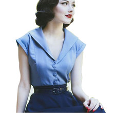 New Women 50s 60s Cocktail Party Vintage Blouses S~2XL Solid Color Cap Sleeves Summer Casual Feminino Blusas Shirts