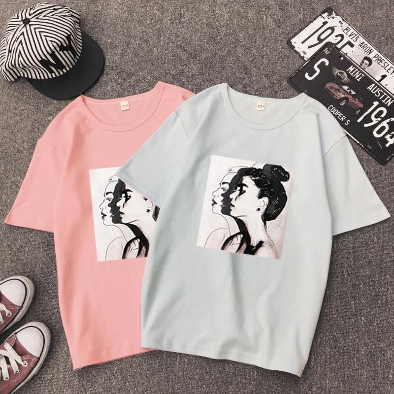 Girls Print Short Sleeve O Neck Cotton Spandex Top Slim Fit Soft T-shirt 35
