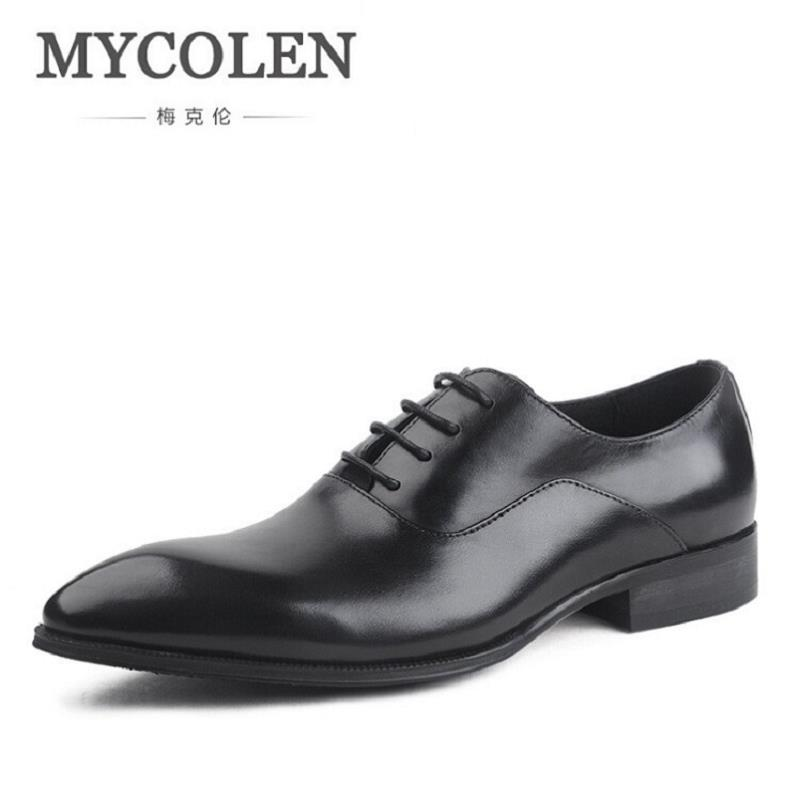 MYCOLEN Genuine Leather Men Oxford Shoes Lace Up Casual Business Men Shoes Brand Wedding Men Dress Shoes Schuhe Herren mycolen men s leather lace up dress shoes men business office oxfords man casual wedding flats shoes adult sapatos masculinos