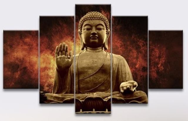 Great New Arrived Modern Frameless Great Buddha Painting Five Pieces Prints  Painting For Living Room Wall Art