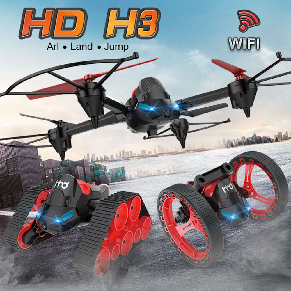 Brand New Three Mode Switching <font><b>Drone</b></font> Tank Bounce Combination Wifi FPV 0.3MP Camera Fixed Height Air Ground Mode Quadcopter image