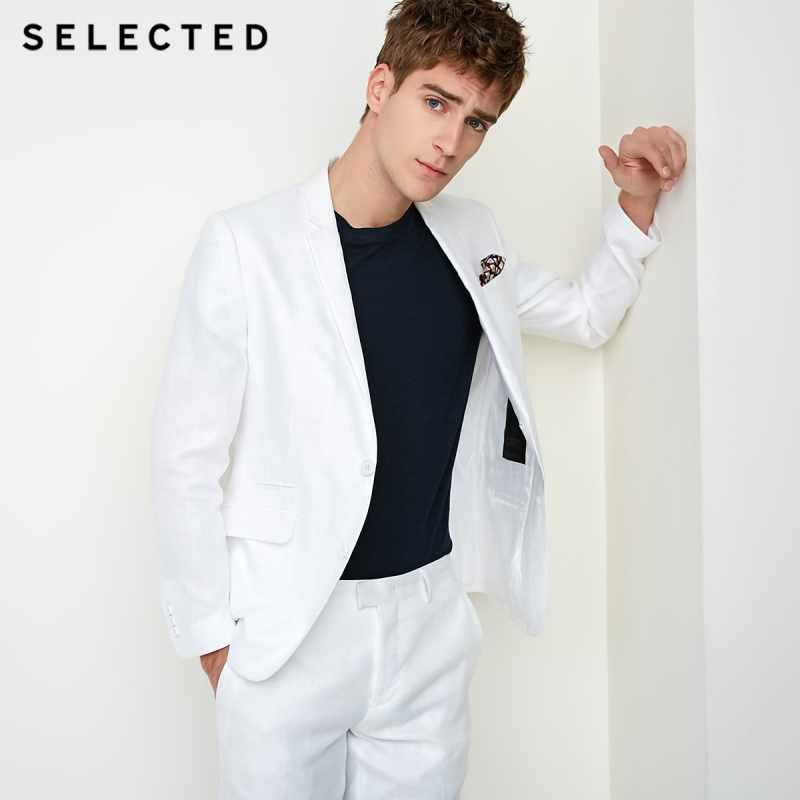 SELECTED Men's Pure Color Slim-Fit Blazer Male Linen Regular Business Clothes T   418272504