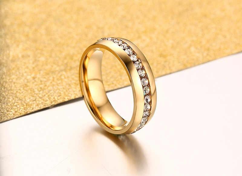 LETAPI 2019 新ファッション 1 行クリスタルリング女性のためのゴールド/シルバー色のステンレス鋼結婚ジュエリー
