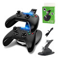IVYQUEEN LED Dual Micro USB Charging Dock Station for Microsoft XBox One S Wireless Controller Charger Game Accessories