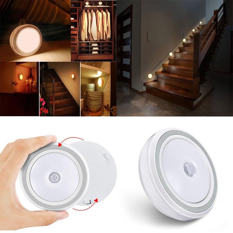 IKVVT New LED Night Light Infrared Motion Detector Sensor Cabinet Lamp Battery Powered