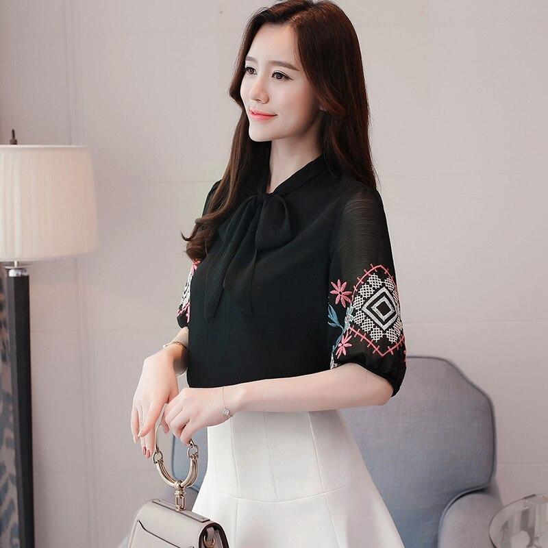 Mujeres Pink Camisa Blusa 30 Moda Collar Chifón Bordado Ropa Verano 2018 Mujer Lazo blanco negro 0037 Nueva Floral Talla De Tops Grande UqHYzvwH