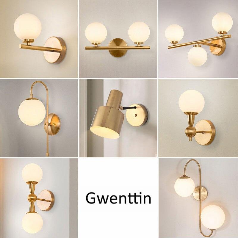 Modern Gold Wall Lamps Glass Ball, Wall Lights For Bathroom