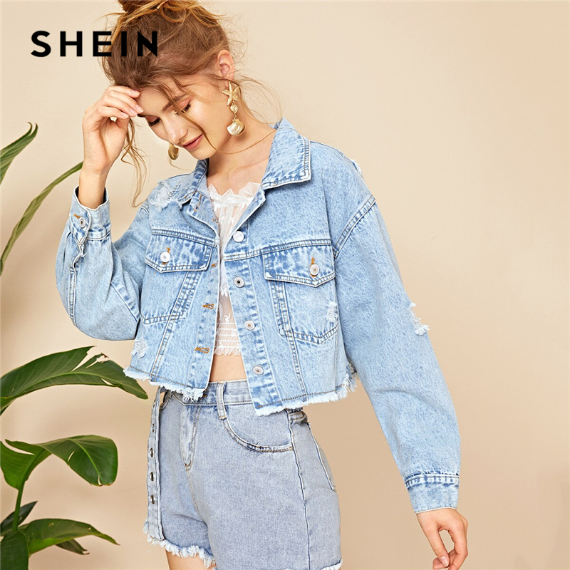 SHEIN Blue Ripped Frayed Edge Flakes Crop Denim Jeans Jacket Women Spring Autumn Single Breasted Casual Outwear Coat Jackets