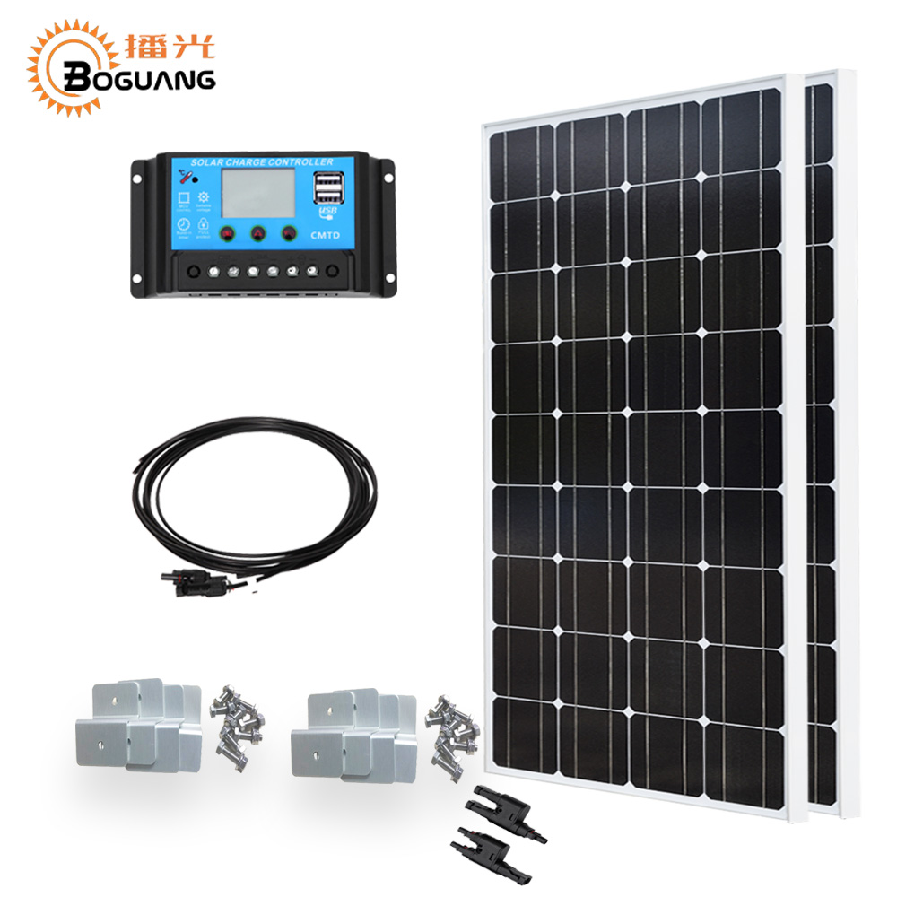 Boguang 100w solar panel Mono cell 200w DIY system kit 20A PMW controller cable MC4 connector 12v battery home power charger boguang 2000w solar kit 20 100w solar panel module cell connector 12v pv system battery power charger outdoor rv house light