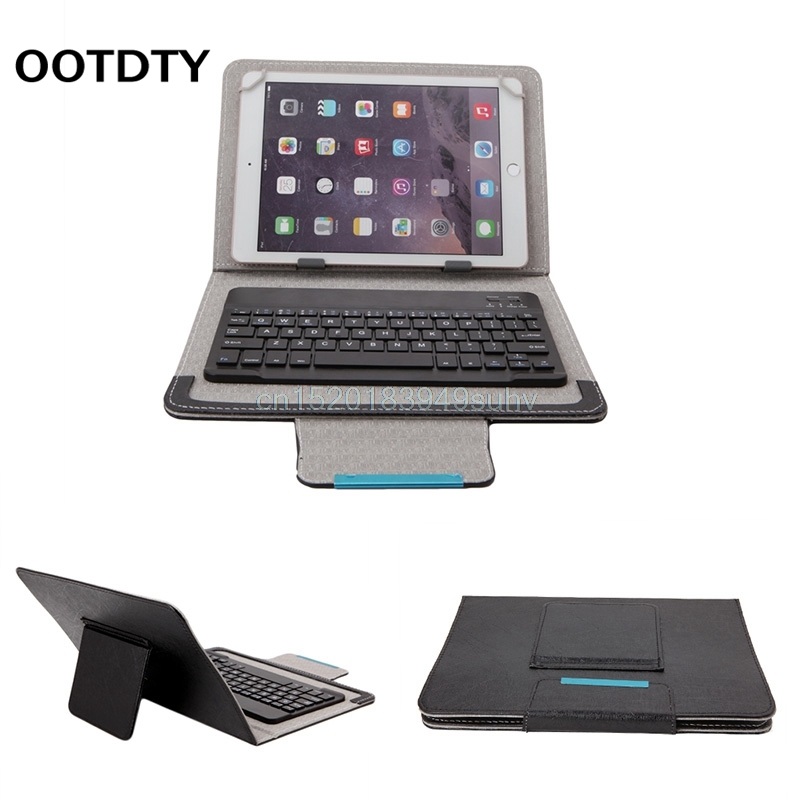 OOTDTY 7-10inch Black PU Leather Detachable Wireless Bluetooth Keyboard With Tablet Case Cover Stand+Give Tablets Pen universal removable wireless bluetooth keyboard pu leather case cover stand for 7 8 inch tablet pc with free stylus