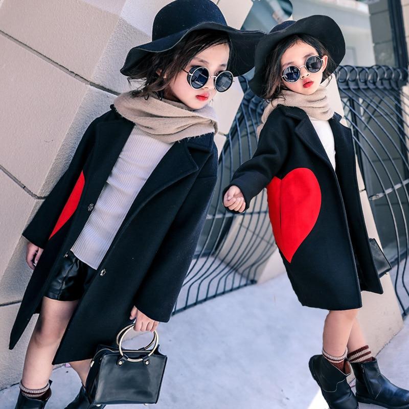 Kids Jackets for Girls Wool Coat Jacket Autumn Cartoon Heart Teenage Girls Coat Children Long Outerwear Girls Costume 12 Years цена 2017