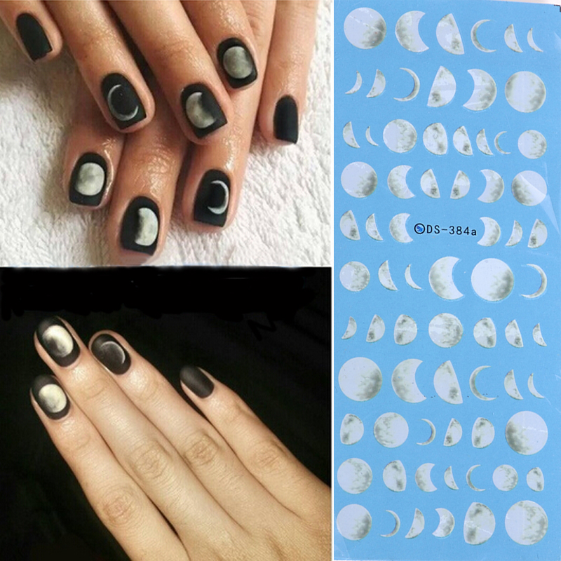 free shipping NEW 1 Sheets Nail Art Decorations Sets black and white moon Water Transfer Nails Sticker Full Decals Tools DS-384