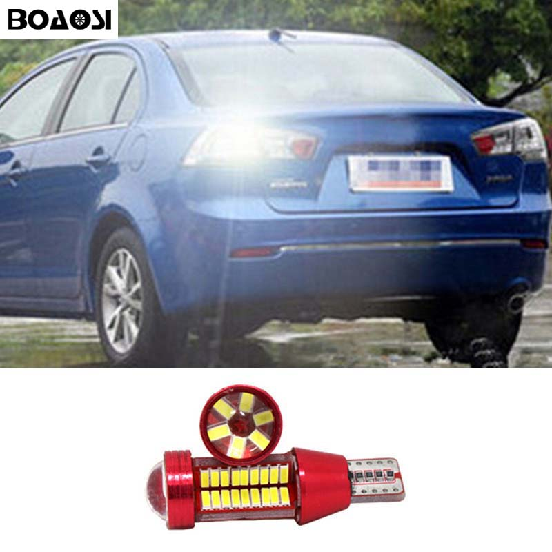 BOAOSI 1x Canbus Car LED Lamp W16W Led T15 4014 CREE Chip Backup Reverse Light for Mitsubishi asx Lance all in one canbus 80w 8000lm cree chip led h4 hi