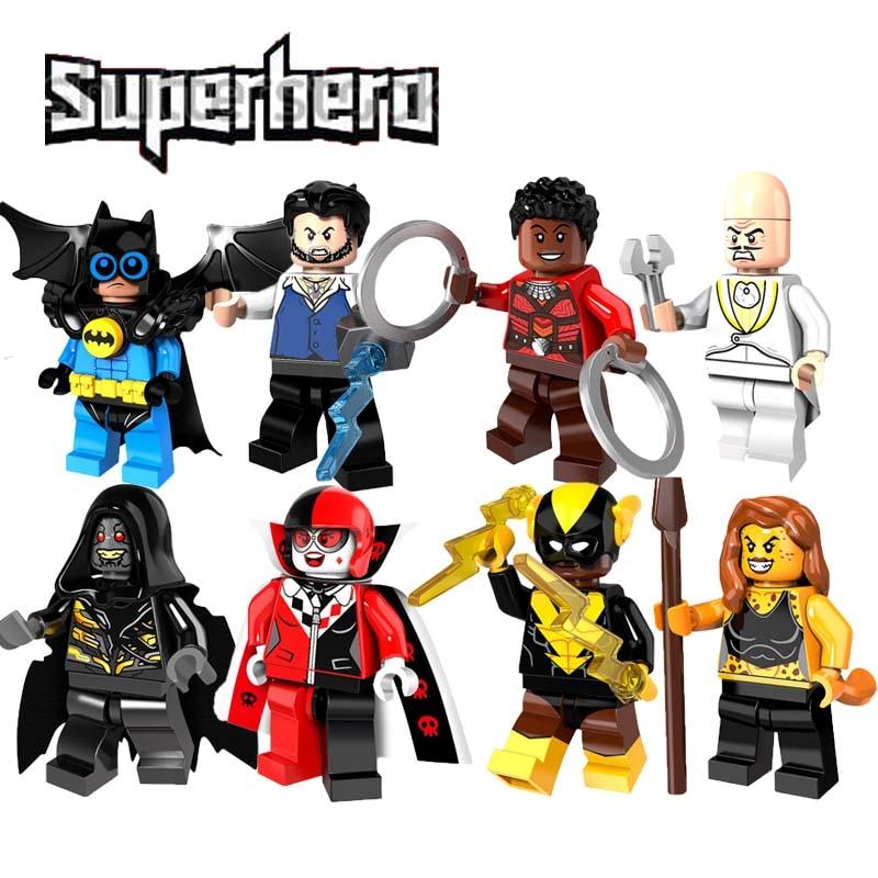Super Heroes Mini Doll Bat Robin Ulysses Klaw Najia Corvues Glaive Harley Quinn Black Vulcan Building Block Toys Pg8111