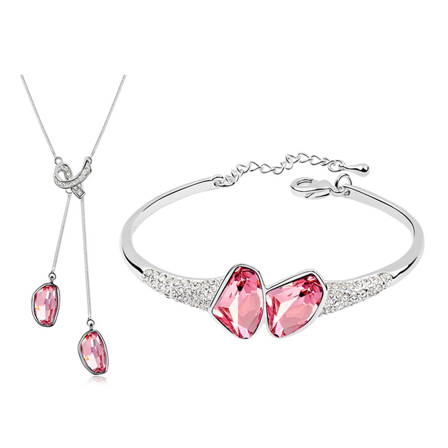 Pink Jewelry Sets Bridal Jewellery Set With 100% Austrian Crystal Necklace And Bangle Lady Women Wedding Accessories 3 Colors