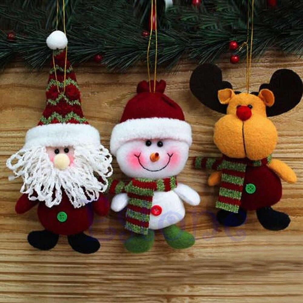 Christmas tree fabric santa snowman reindeer ornaments - Adornos arbol navidad fieltro ...