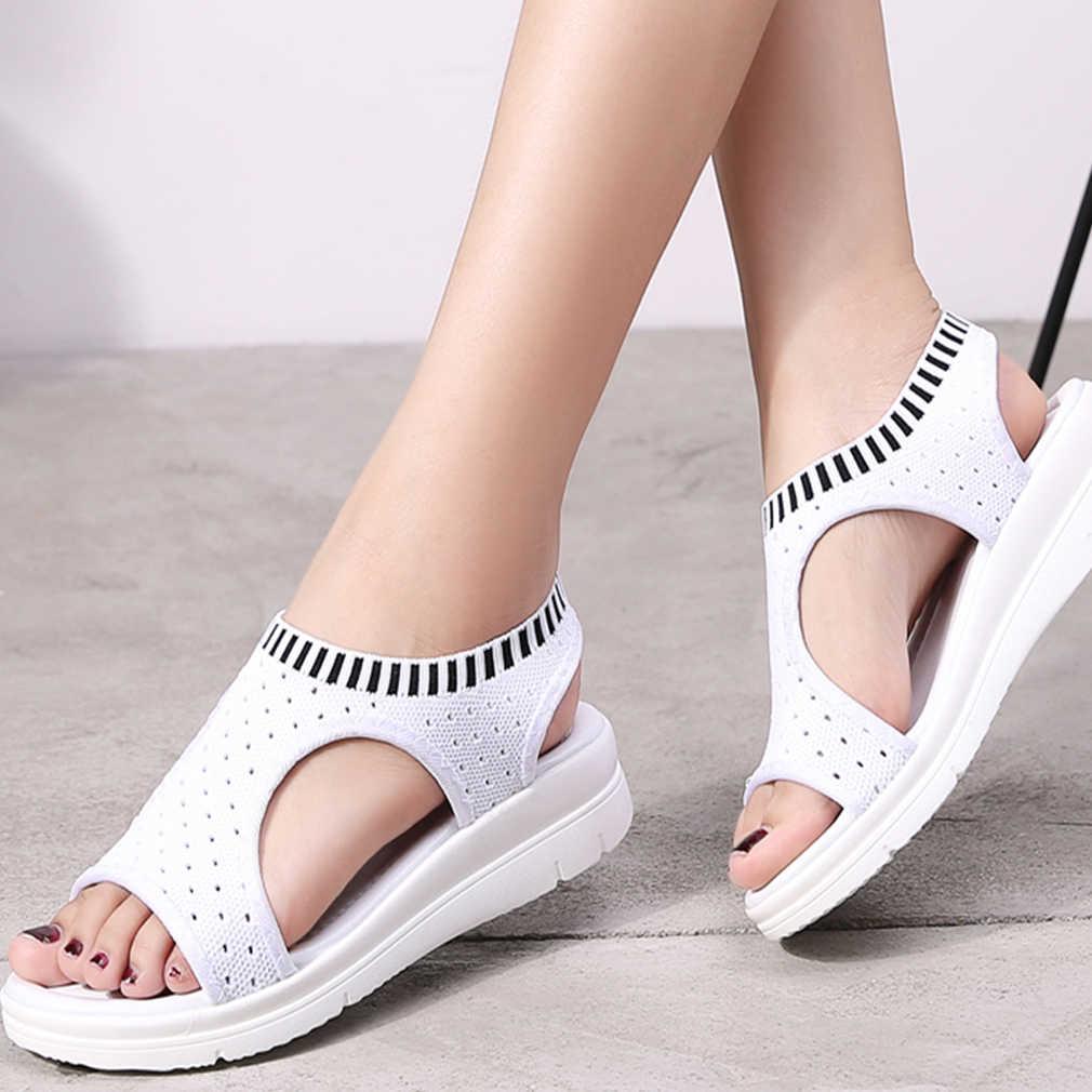 גלדיאטור Sandalias mujer 2019 נשי טריז עקבים נעלי נשים קיץ סנדלים נוחים להחליק על שטוח סנדלי פלטפורמת Sandalias