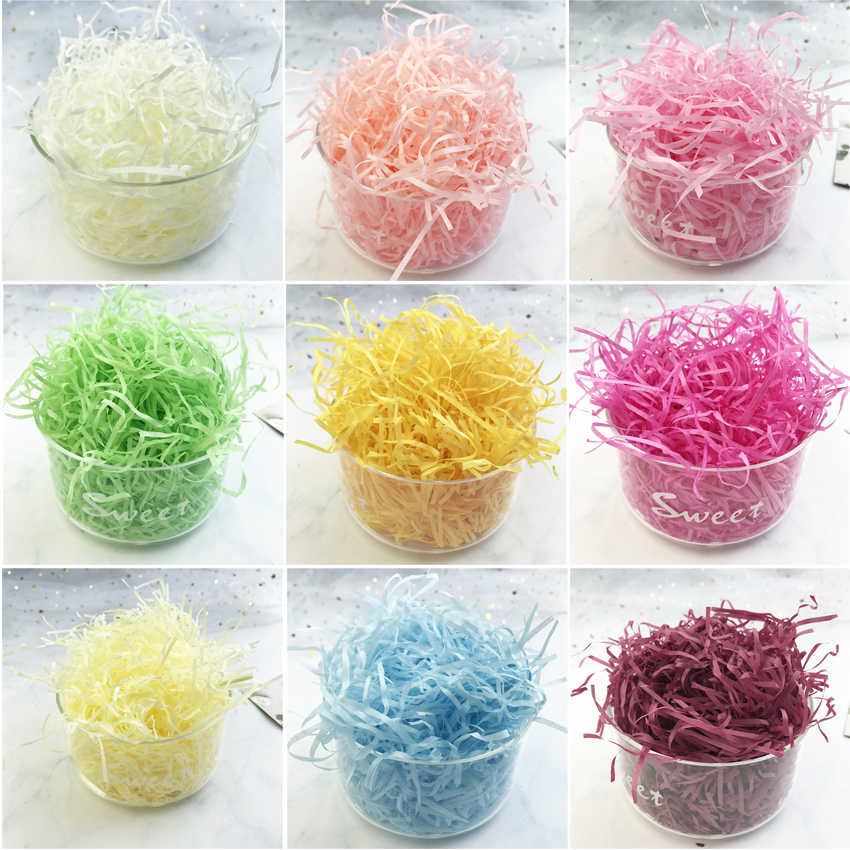 100g Raffia Jute Wedding Party Shredded Crinkle Paper Confetti Gift Packing Candy Material Box Filler Birthday Party Decoration