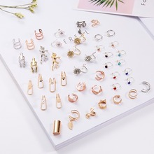 Rinhoo Colorful Zinc Alloy Hollow U/Heart/Star Geometric Shape Clip Earrings For Womens Accessories Gift Fashion Jewelry