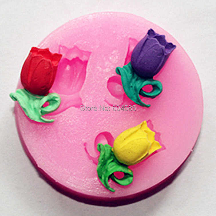 Lily shape Muffin Sweet Candy Jelly fondant Cake chocolate Mold 3D Silicone mold Baking Pan cooking tools bakewareFM247